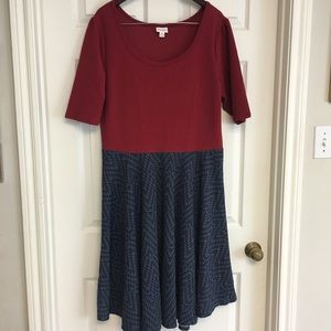 LuLaRoe Nicole Dress 3XL Geometric Colorful Skirt